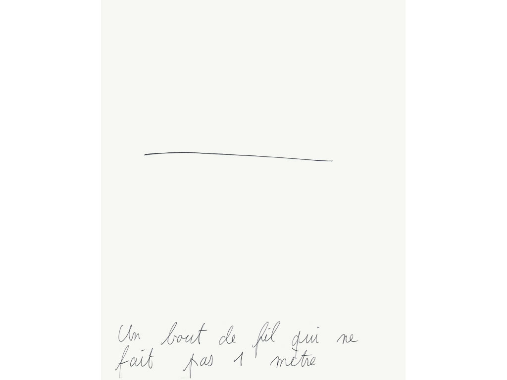 Claude Closky, 'Un bout de fil qui ne fait pas 1 mètre [a piece of thread that doesn't mesure 1 meter]', 1994, ballpoint pen on paper, 30 x 24 cm.
